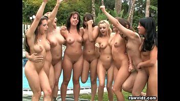 Group lesbo honeys party outdoors