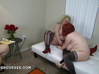 3 bbw large boob lesbian babes pumping every other