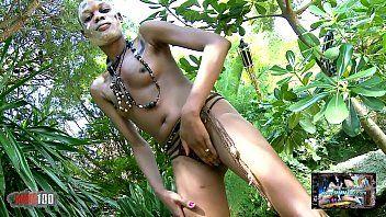 Lewd dark bianka blacka getting bare in the jungle