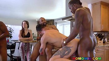 Pale hunk group-fucked in front of her wife
