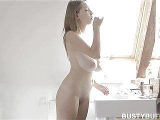 Breasty buffy brushing teeth and masturbating