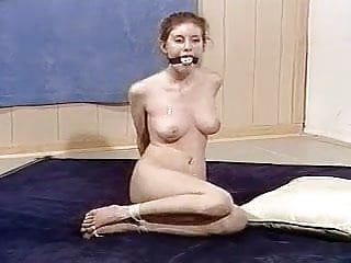 Nude angel bound, gagged and toetied