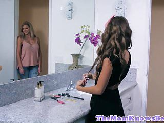Breasty stepmom train stepdaughter lesbo sex