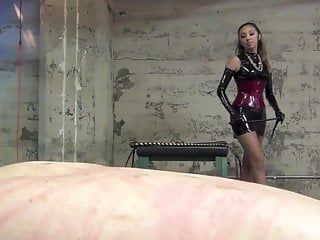 Jennifer femdom-goddess face slapping, spitting corporal castigation