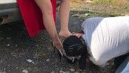 Villein prendre avec les chaussures de la langue directrice du tuyau collants en nylon fétichisme des pieds femdome