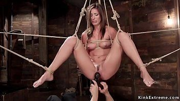 Hawt dark brown tortured on hogtie