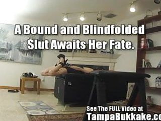 Bound, blindfolded, banged legal age teenager swallows squirts