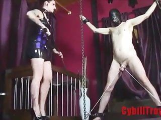Femdom-goddess whips fastened and displayed ramrod of stripped gay bondman