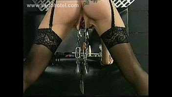 German serf receives pulled on teats and big metal clamps with weight on her cookie lips