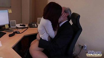 I am a youthful secretary seducing my boss at the office asking for sex