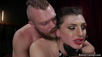 Taskmaster locks transsexual sub in stock