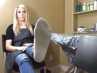 Blond showing her ticklish feet