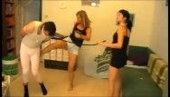 Home castigation for 24-7 villein by 2 juvenile femdom brat gals