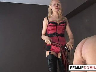 Mean domina whipping worthless serf butt