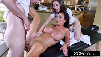 Breasty milf receives massage and double-team banging - nikki benz, riley reid