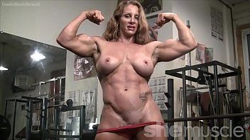 Exposed female bodybuilder hot red headed muscle