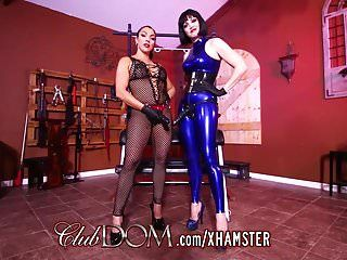 Clubdom mistresses group sex dude wazoo with strap-on
