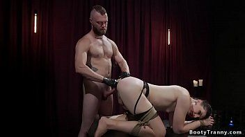 Fastened shelady anal fisted and group-fucked