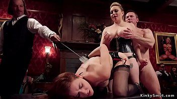 Lesbo slaves drilled in sm fuckfest