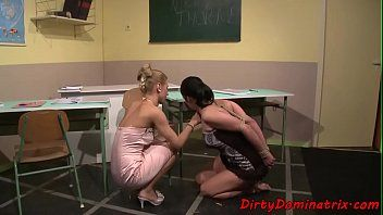 Lezdom teacher punishing fastened sub legal age teenager