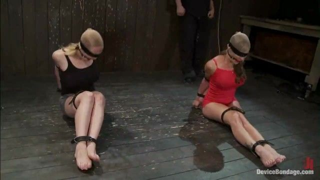 2 gagged cuties compete to escape
