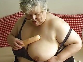 Solo large plump granny and toy with one old 3some