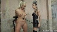 Gagged sub whipped and dominated with fake penis by goddess