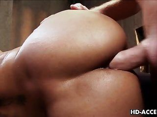 Swarthy floozy marie luv riding white dong and nailed hard
