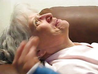 Grey haired granny oral and cum in her throat