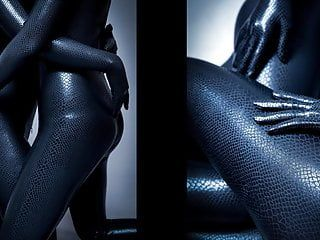 Dreammask zentai swarthy mamba angel with rich haunches and double