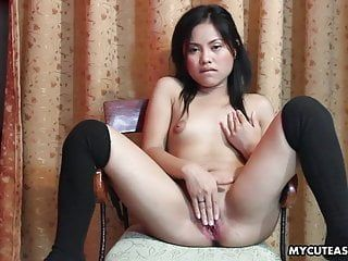 Lustful little oriental lady drilling her smooth bawdy cleft with a dil