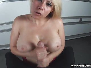 Verbal humiliation of petite cock by breasty blond milf