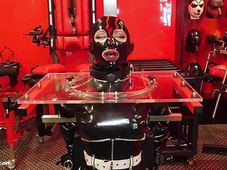 Rubber latex gasmask thraldom lock for a lengthy time