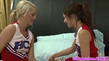 Legal age teenager cheerleaders licking every others twat